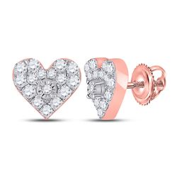 1/3 CTW Womens Round Diamond Heart Earrings 10kt Rose Gold - REF-27N3A