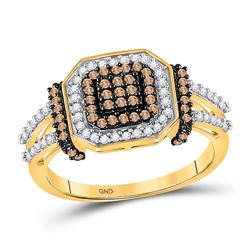 1/2 CTW Womens Round Brown Diamond Square Cluster Ring 10kt Yellow Gold - REF-36M2F