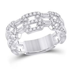 1/2 CTW Womens Baguette Diamond Link Band Ring 14kt White Gold - REF-68M2F