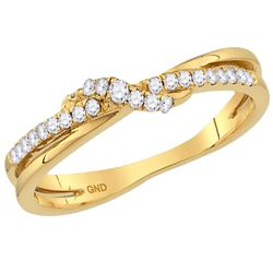 1/6 CTW Womens Round Diamond Crossover Stackable Band Ring 14kt Yellow Gold - REF-29A4M