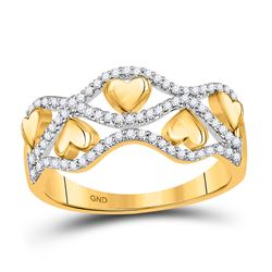 1/5 CTW Womens Round Diamond Heart Band Ring 10kt Yellow Gold - REF-24N5A