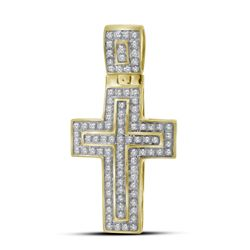 1/4 CTW Mens Round Diamond Cross Layered Charm Pendant 10kt Yellow Gold - REF-42V2Y