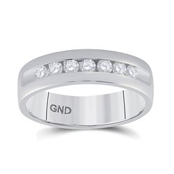 1/2 CTW Mens Round Diamond Wedding Single Row Band Ring 14kt White Gold - REF-102H3R