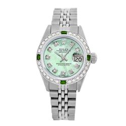 Rolex Pre-owned 26mm Womens Custom Green MOP Stainless Steel