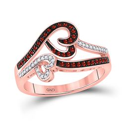 1/4 CTW Womens Round Red Color Enhanced Diamond Heart Ring 10kt Rose Gold - REF-32A7M
