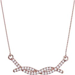 1/2 CTW Womens Round Diamond Twist Bar Fashion Necklace 10kt Rose Gold - REF-38T2V