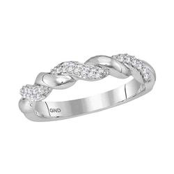 1/6 CTW Womens Round Diamond Twist Stackable Band Ring 10kt White Gold - REF-29H9R
