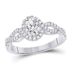 7/8 CTW Oval Diamond Halo Bridal Wedding Engagement Ring 14kt White Gold - REF-190R8X