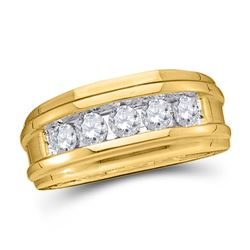 1/4 CTW Mens Round Diamond Wedding Single Row Band Ring 14kt Yellow Gold - REF-56V6Y