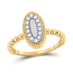 1/4 CTW Womens Baguette Diamond Oval Cluster Ring 10kt Yellow Gold - REF-27Y3N