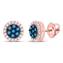 1/2 CTW Womens Round Blue Color Enhanced Diamond Flower Cluster Earrings 10kt Rose Gold - REF-27F3W