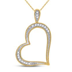 1/20 CTW Womens Round Diamond Outline Heart Pendant 10kt Yellow Gold - REF-8Y9N