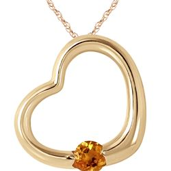 Genuine 0.25 ctw Citrine Necklace 14KT Yellow Gold - REF-29K2V