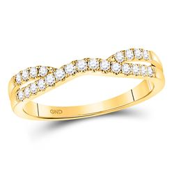 1/4 CTW Womens Round Diamond Contour Enhancer Wedding Band Ring 14kt Yellow Gold - REF-34M3F