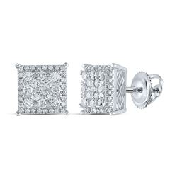 1 CTW Womens Round Diamond Square Earrings 14kt White Gold - REF-88W5H
