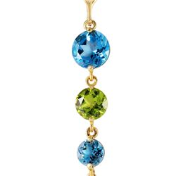Genuine 3.9 ctw Blue Topaz & Peridot Necklace 14KT Yellow Gold - REF-23P5H