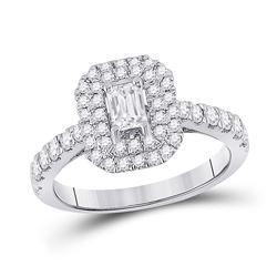 1 CTW Emerald Diamond Halo Bridal Wedding Engagement Ring 14kt White Gold - REF-141X7T