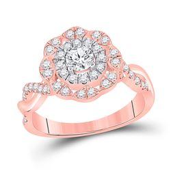 7/8 CTW Round Diamond Halo Bridal Wedding Engagement Ring 14kt Rose Gold - REF-115Y8N