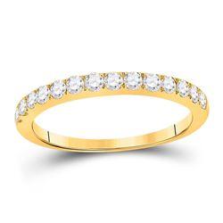 1/2 CTW Womens Round Diamond Wedding Single Row Band Ring 10kt Yellow Gold - REF-38Y2N
