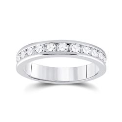 3/4 CTW Womens Round Diamond Wedding Band Ring 14kt White Gold - REF-81F7W