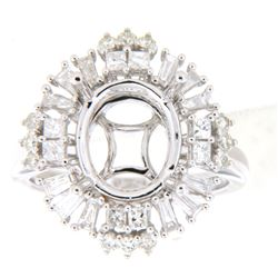 1.01 CTW Diamond Semi Mount Ring 14K White Gold - REF-124Y2X