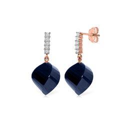 Genuine 30.65 ctw Sapphire & Diamond Earrings 14KT Rose Gold - REF-59Z9N