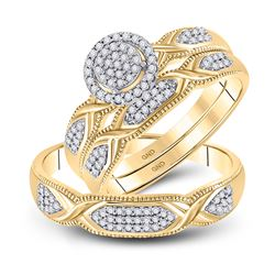 1/3 CTW His Hers Round Diamond Cluster Matching Wedding Set 10kt Yellow Gold - REF-45W2H