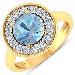 Natural 1.98 CTW Aquamarine & Diamond Ring 14K Yellow Gold - REF-79M7T