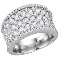 3 & 1/4 CTW Womens Round Diamond Pave Band Ring 14kt White Gold - REF-293R3X
