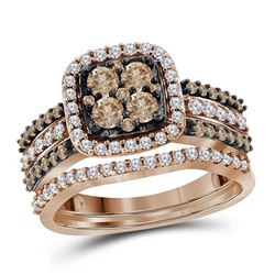 1 CTW Womens Round Brown Diamond Bridal Wedding Ring 10kt Rose Gold - REF-72T3V