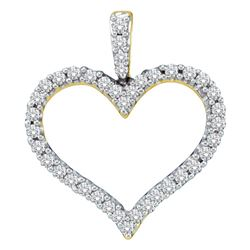 1/2 CTW Womens Round Diamond Classic Heart Outline Pendant 14kt Yellow Gold - REF-47X6T