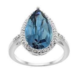 5.55 CTW London Blue Topaz & Diamond Ring 14K White Gold - REF-47H5M