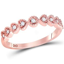 1/10 CTW Womens Round Diamond Heart Stackable Band Ring 14kt Rose Gold - REF-20T5V