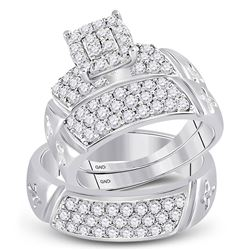 1 & 5/8 CTW His Hers Round Diamond Cluster Matching Wedding Set 14kt White Gold - REF-136A4M
