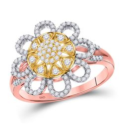 1/3 CTW Womens Round Diamond Flower Floral Cluster Ring 10kt Rose Gold - REF-40F8W