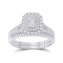 1/3 CTW Emerald Diamond Bridal Wedding Ring 14kt Two-tone Gold - REF-136V4Y
