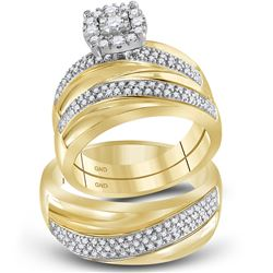 1/2 CTW His Hers Round Diamond Solitaire Matching Wedding Set 10kt Yellow Gold - REF-85A3M