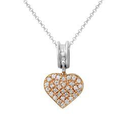0.29 CTW Diamond Necklace 18K 2Tone Rose Gold - REF-57R3K