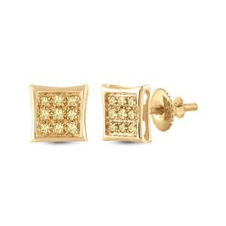 1/20 CTW Mens Round Yellow Color Enhanced Diamond Square Earrings 10kt Yellow Gold - REF-8X3T