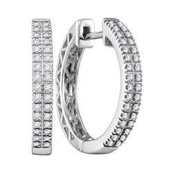 1/3 CTW Womens Round Diamond Hoop Earrings 10kt White Gold - REF-47N6A