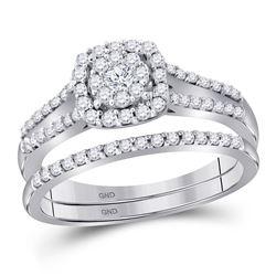 1/2 CTW Round Diamond Bridal Wedding Ring Band Set 10kt White Gold - REF-51W2H