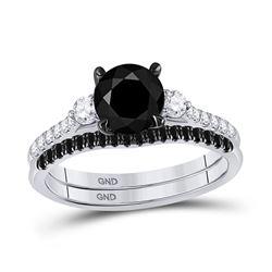 1 & 7/8 CTW Womens Round Black Color Enhanced Diamond Bridal Wedding Ring 14kt White Gold - REF-68H2