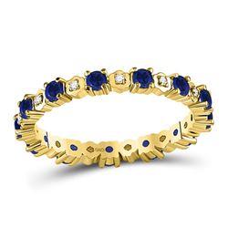 1 CTW Womens Round Blue Sapphire Diamond Eternity Band Ring 10kt Yellow Gold - REF-30X7T