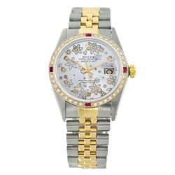 Rolex Pre-owned 36mm Mens Flower Two Tone