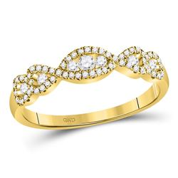 3/8 CTW Womens Round Diamond 3-Stone Anniversary Band Ring 14kt Yellow Gold - REF-43Y6N