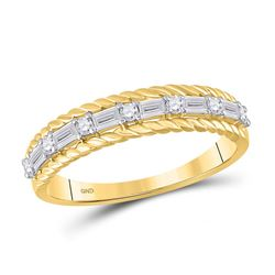 1/3 CTW Womens Baguette Diamond Anniversary Band Ring 14kt Yellow Gold - REF-35A4M