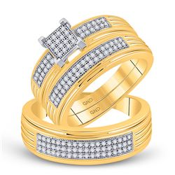 3/8 CTW His Hers Diamond Square Cluster Matching Wedding Set 10kt Yellow Gold - REF-64F8W
