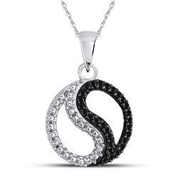 1/10 CTW Womens Round Black Color Enhanced Diamond Ying Yang Circle Pendant 10kt White Gold - REF-13