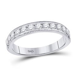1/2 CTW Womens Round Diamond Single Row Band Ring 14kt White Gold - REF-54H5R