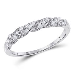 1/8 CTW Womens Round Diamond Stackable Band Ring 10kt White Gold - REF-19X2T